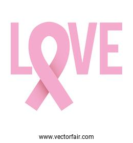 ribbon pink symbol of breast cancer with word love