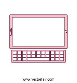 contour tablet touch in light pink color and keyboard