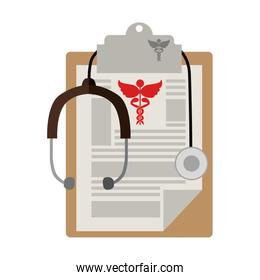 table notepad with sheets stethoscope medical