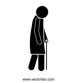 icon silhouette elderly woman with walking stick