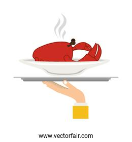 silhouette colorful dish with hot crab in tray