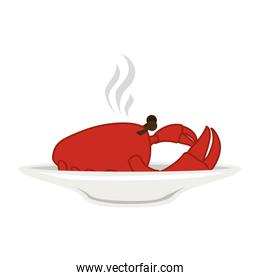 silhouette colorful dish with hot crab