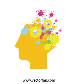yellow silhouette head with gears and colorful sparks