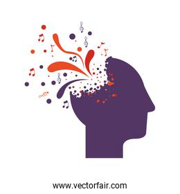 purple silhouette profile human head with colorful explosion