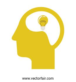 yellow silhouette head and human brain with light bulb