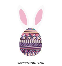 colorful easter egg design with ears bunny