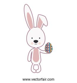 skinny rabbit holding a easter egg