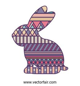 silhouette rabbit easter with decorative texture