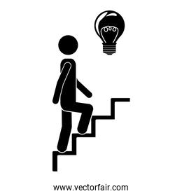 person up the stairs