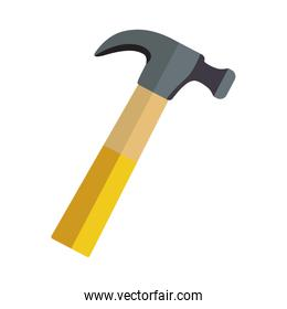 hammer icon tool with wooden handle