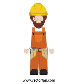 silhouette man worker with toolkit and beard