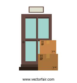 office logistic with carton boxes set