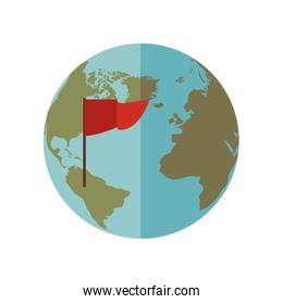 blue sphere world with red Flag