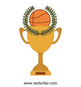 silhouette colorful Trophy Cup of basketball