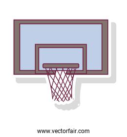 silhouette pastel color of square basketball hoop with shadow