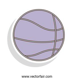 silhouette pastel color of basketball ball with shadow