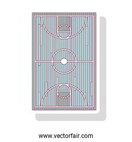 silhouette pastel color of basketball field with shadow