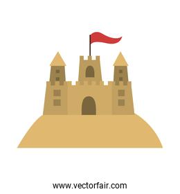 colorful sandcastle icon with flag