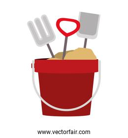 colorful sand bucket and shovel icon
