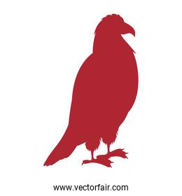 red silhouette eagle standing icon