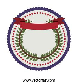 stamp crown formed with olive branch and label flag