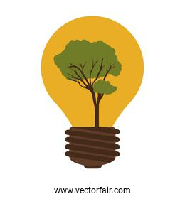 silhouette contour bulb with tree inside