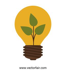 silhouette contour bulb with leaf inside
