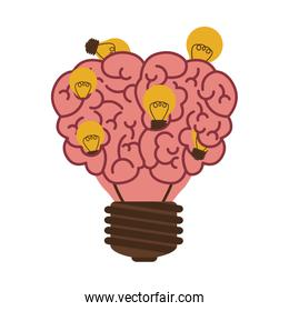 light bulb in form of brain icon with multiple small bulb