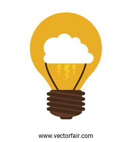silhouette contour bulb with cloud inside
