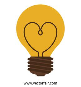 silhouette electric bulb with resistenc ein heart shape