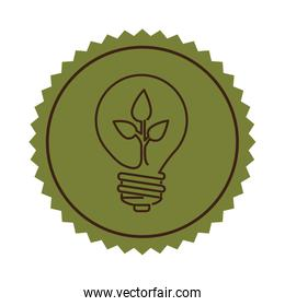 stamp light bulb flat icon with leaf inside