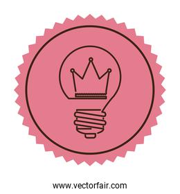 stamp silhouette light bulb flat icon with crown inside