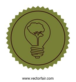 stamp silhouette bulb with tree shape flat icon