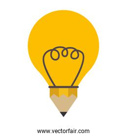 isolated silhouette contour bulb with pencil shape