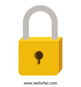 padlock with yellow body and shackle