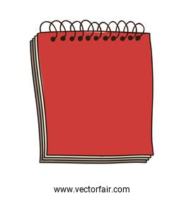 colorful notebook of spiral in red
