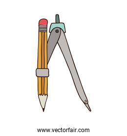 silhouette colorful of compass with pencil