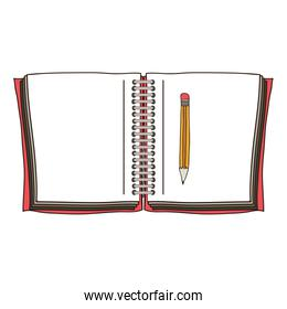 colorful opened notebook with pencil
