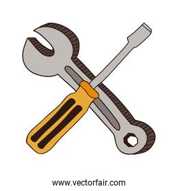 colorful screwdriver phillips and wrench