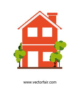silhouette with orange house of two floors with trees
