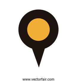 map pointer with circle interior yellow
