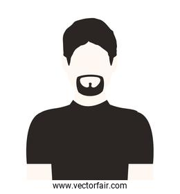 monochrome half body man with beard without face