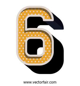 three-dimensional number six dotted in yellow color