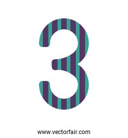 number three design with colorful striped