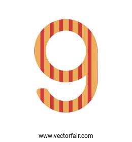 number nine design with vertical colorful striped