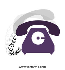 antique phone design with cord and shadow