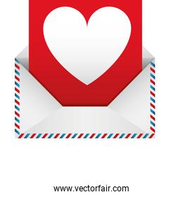 romantic envelope with heart draw