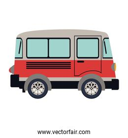 colorful silhouette with red van