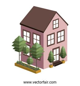 silhouette colorful house with two floors and trees