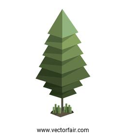 colorful green pine tree with pixel design